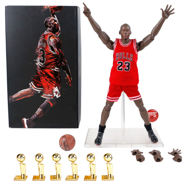 Wholesale NBA Star Bulls Michael Jordan Doll And Six Championship Trophy 1/9 Model