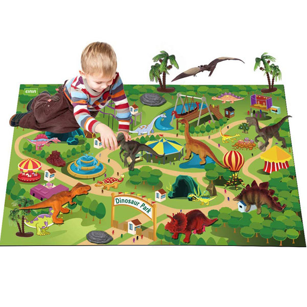 Children dinosaur model toys sets with game play mat educational toys gifts for kids