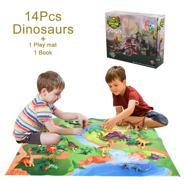 Popular children educational toys dinosaur model toys sets with game play mat for kids