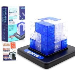 Luban cubic burn your brain cube building blocks with base kids educational toys blue
