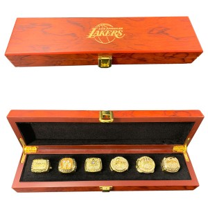 Los Angeles Lakers Six NBA Championship Ring Set With Wooden Box Gift Collection
