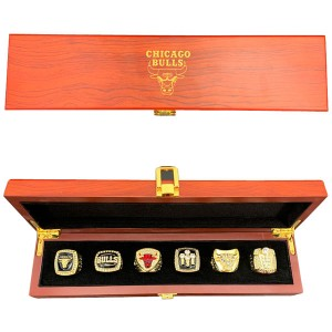 Chicago Bulls Six NBA Championship Rings Set With Wooden Box Gift Collection
