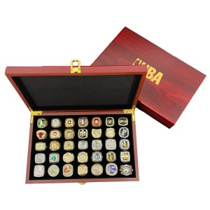 Collector's Edition Sports Fan 35 NBA Championship Rings Set With Wooden Box
