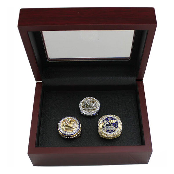 Warriors Stephen Curry 3 Championship Ring Set With Wooden Box Gift Collection