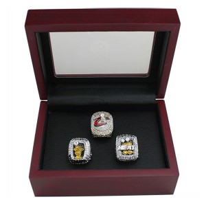 Miami Heat Lebron James 3 Championship Ring Set With Wooden Box Gift Collection