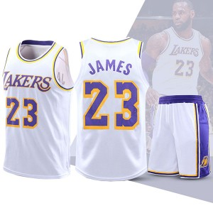 Two Piece Set Lakers Lebron James 23 Basketball Jersey And Pants White