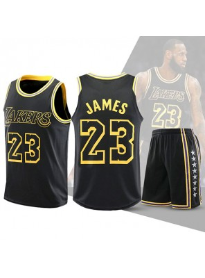 Two Piece Set Lakers Lebron James 23 Basketball Jersey And Pants Black