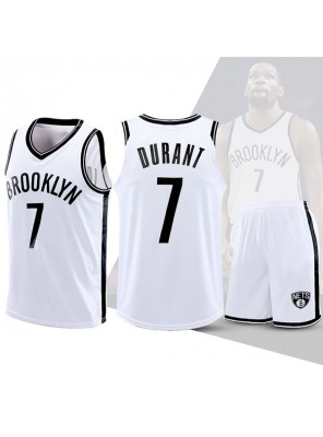 Two Piece Set Kevin Durant 7 Nets Basketball Jersey And Pants White