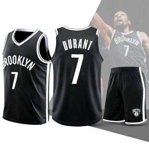Two Piece Set Kevin Durant 7 Nets Basketball Jersey And Pants Black