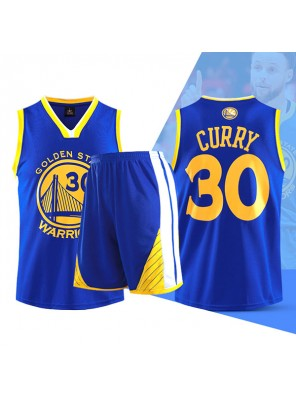 Two Piece Set Stephen Curry 30 Warriors Basketball Jersey And Pants Blue