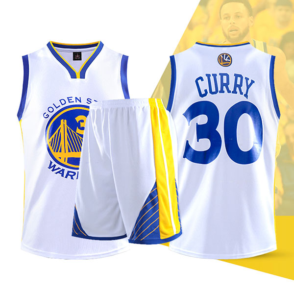 Two Piece Set Stephen Curry 30 Warriors Basketball Jersey And Pants White