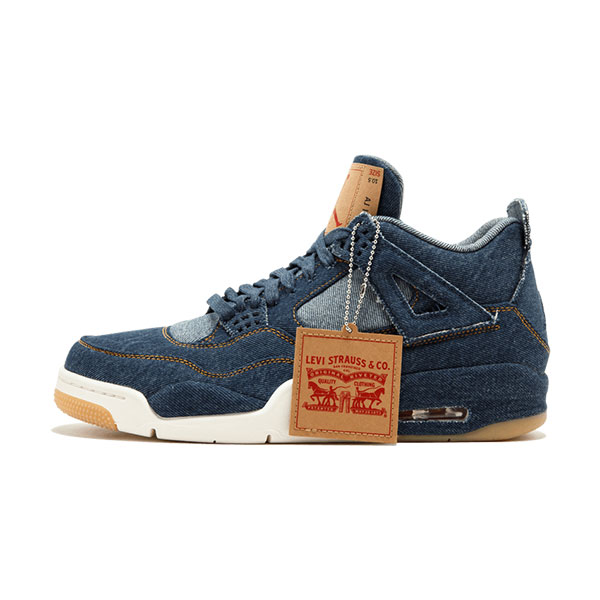 Levis x Air Jordan 4 retro sneaker men's casual shoes blue denim jacket