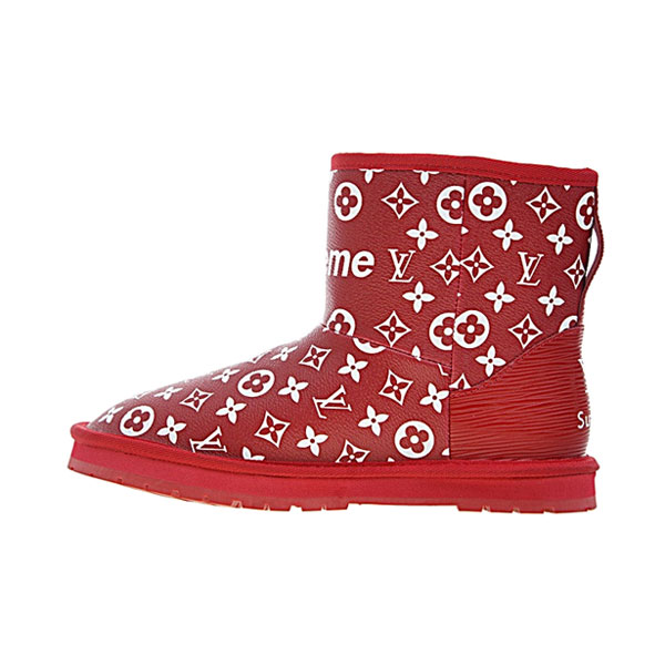 Limited Louis vuitton x Supreme x UGG women's boots collection red white logo