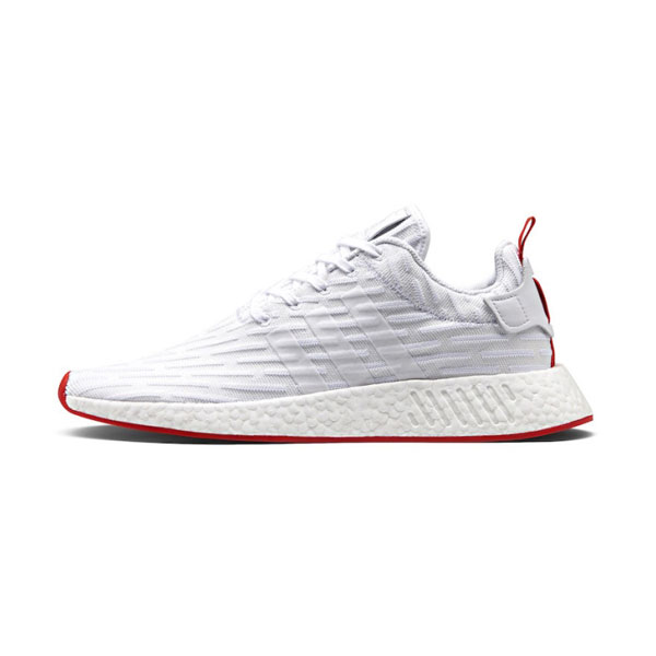 Adidas Originals NMD R2 Primeknit shoes for womens and mens white red BA7253