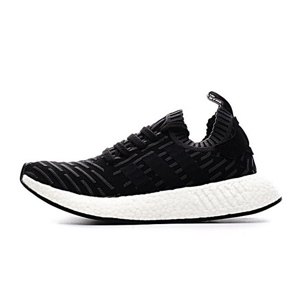 Adidas Originals NMD R2 PK boost mens running shoes striped black pink BA7239