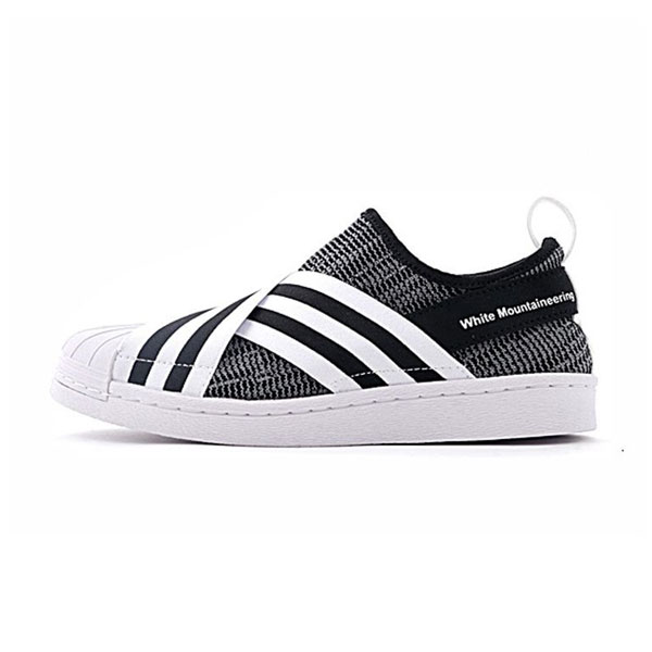 White Mountaineering x adidas originals superstar slip-on sneakers triple black