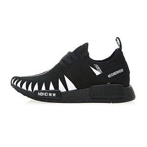 Neighborhood × Adidas nmd r1 pk boost men's running shoes black white
