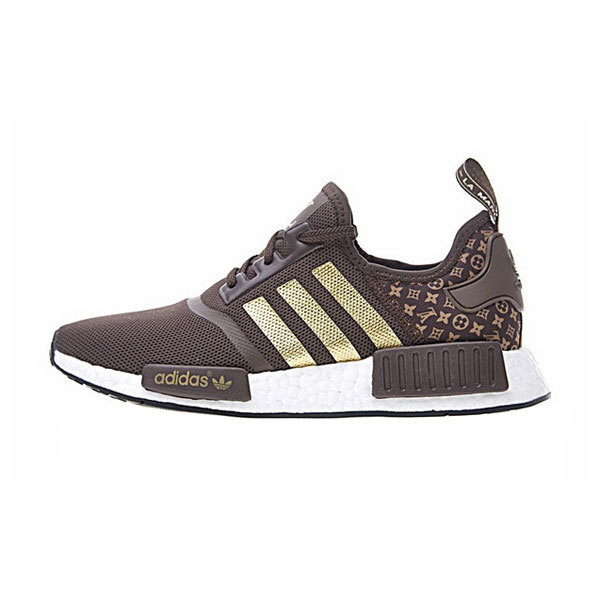 New Limited Louis Vuitton x Adidas nmd r1 boost men's running shoes brown gold