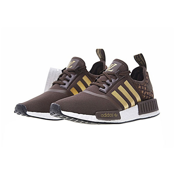 e84f8858896 New Limited Louis Vuitton x Adidas nmd r1 boost men s running shoes brown  gold