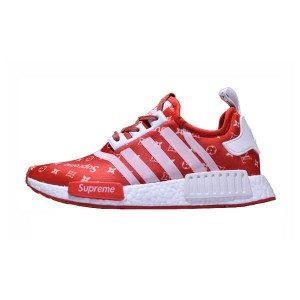 New Limited Supreme x Louis Vuitton x Adidas nmd r1 boost running shoes red