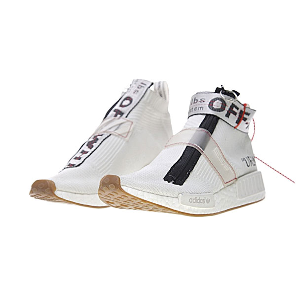 OFF WHITE x adidas originals nmd city sock ow gum men's running shoes white black