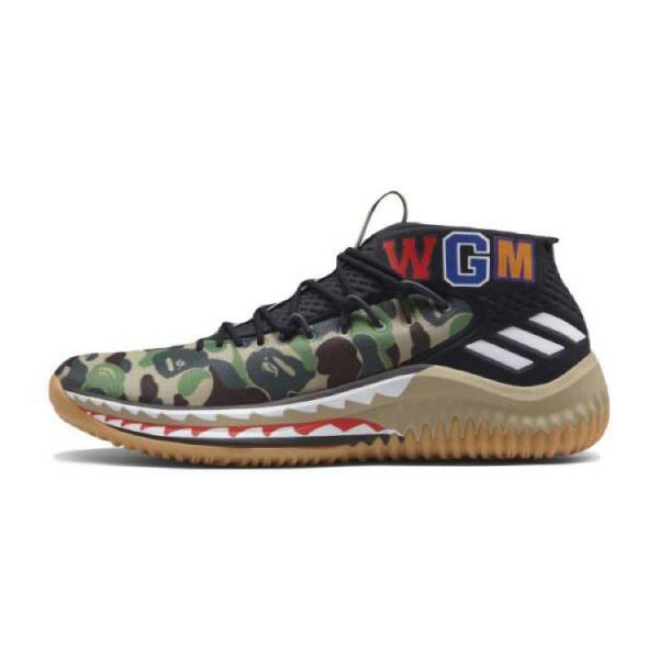 Bape x Adidas Dame 4 Camo Pack Boots Lillard men's basketball shoes green