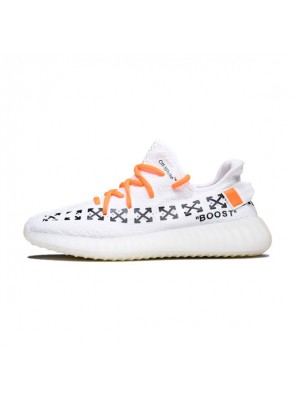 OFF White x Adidas Yeezy 350 V2 Boost The Ten men and women running shoes white