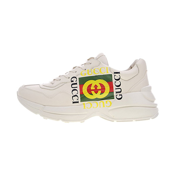 Gucci Logo Rhyton Vintage Trainer Sneaker men and women sports shoes white