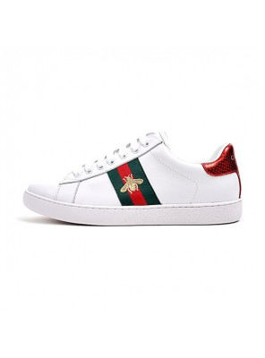 Gucci Ace Embroidered Low-Top sneaker men and women casual shoes white bee