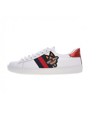 Gucci Ace Embroidered Low-Top sneaker men and women shoes white monster