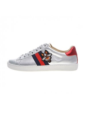 Gucci Ace Embroidered Low-Top sneaker women's causal shoes sliver monster