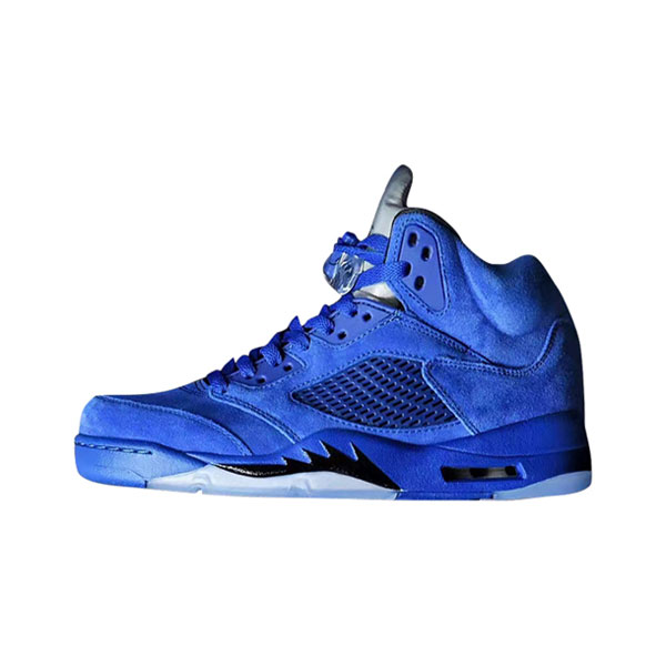 Limited Air Jordan 5 Retro Blue Suede Flight Suit sneaker men's basketball shoes