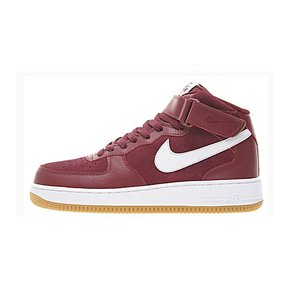Limited Nike Air Force 1 Mid '07 Leather sneakers men's skate shoes wine red/white