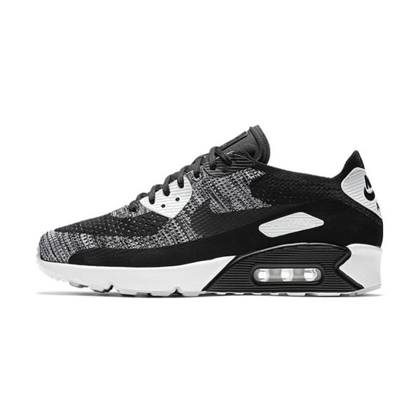 Nike Air Max 90 Ultra 2.0 Flyknit oreo men's running shoes black/wolf grey