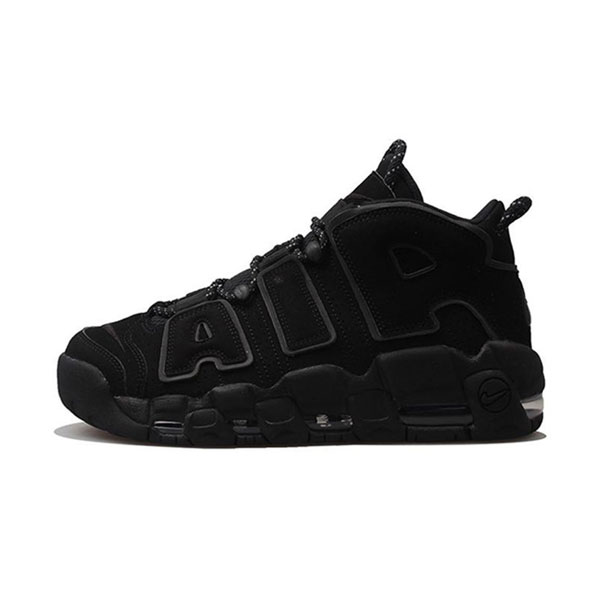 Nike air more uptempo triple black 3M sneakers casual men's basketball shoes