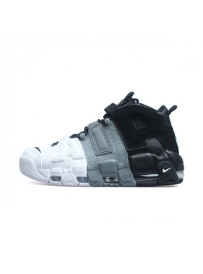Nike air more uptempo tri-color sneakers men's basketball shoes black white grey