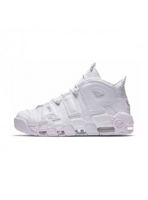 Nike air more uptempo triple white 3M sneakers casual men's basketball shoes