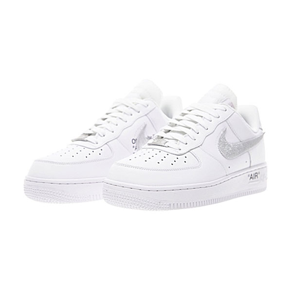 Limited OFF WHITE x Nike Air Force 1 Low men and women casual shoes white sliver