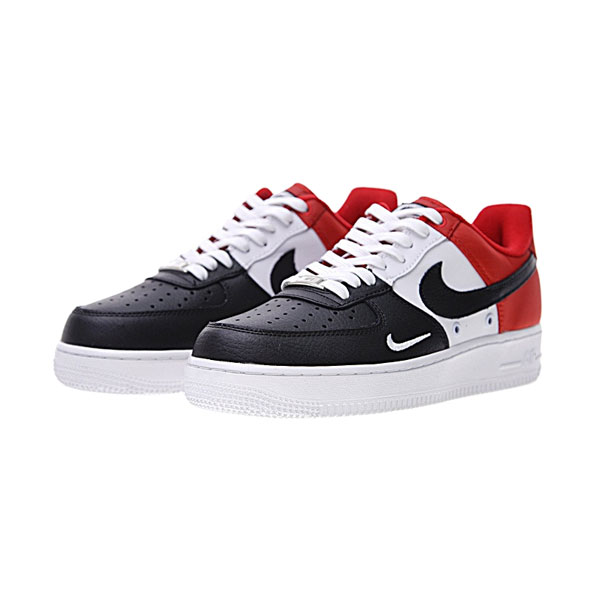 Nike Air Force 1 Low 07 LV8 mini swoosh black toe sports shoes black white red