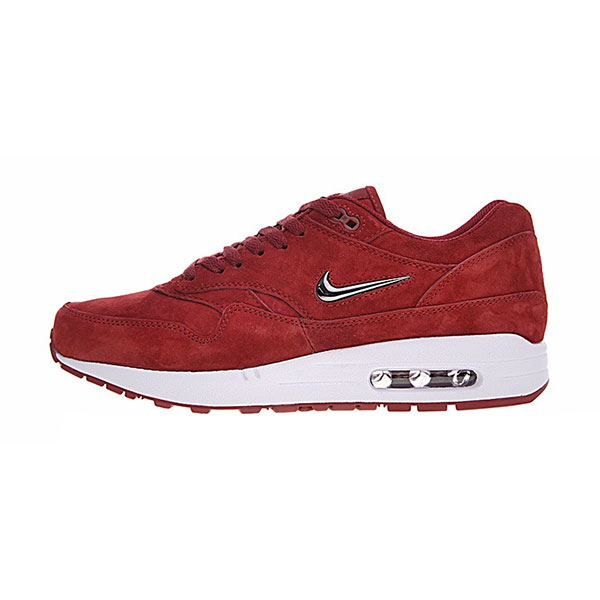 Nike Air Max 1 Premium Jewel Red Chrome men and women running shoes