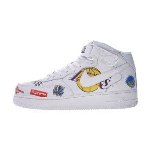 Supreme x NBA x Nike Air Force 1 Mid sneaker men's running shoes white