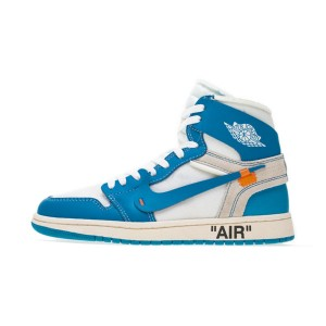 OFF White x Nike Air Jordan 1 UNC The Ten Sports Shoes Dark Powder Blue