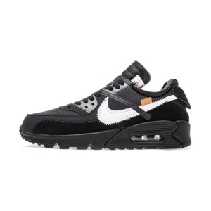 Off White x Nike Air Max 90 V2 All Black Sneaker Men's Running Shoes