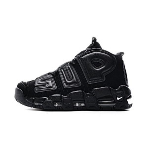 Supreme x Nike air more uptempo sneakers men's basketball shoes triple black