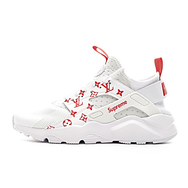 9ed40c514ba2 Supreme x LV x Nike Air Huarache Ultra Flyknit ID running shoes white red