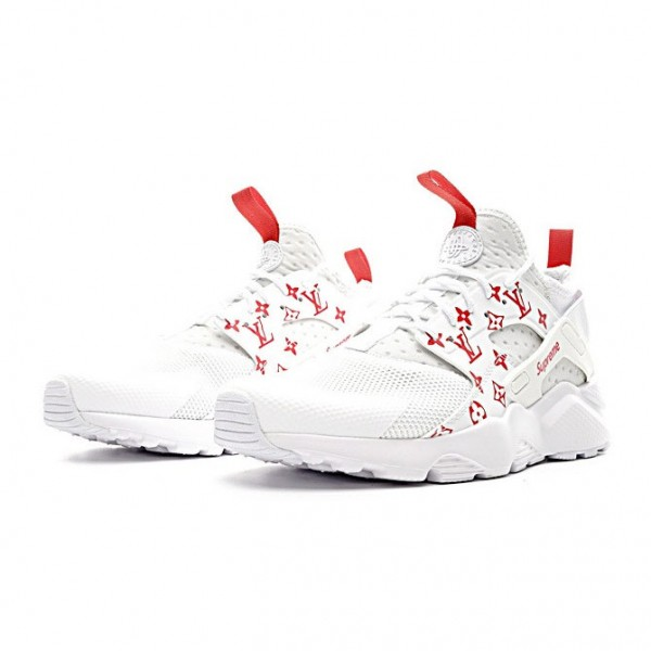Supreme x LV x Nike Air Huarache Ultra Flyknit ID running shoes white red