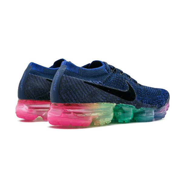 2017 nike air vapormax flyknit women and men running shoes blue rainbow