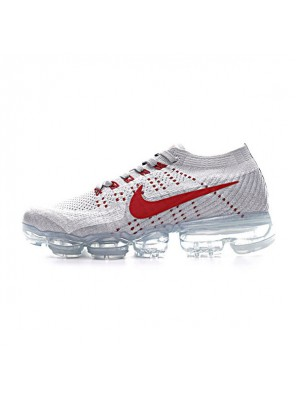 2017 nike air vapormax flyknit running shoes pure platinum/university red