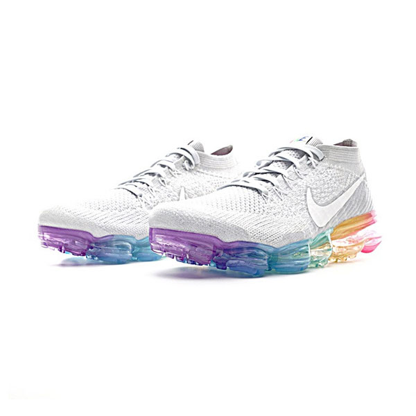2017 nike air vapormax flyknit women and men running shoes grey rainbow