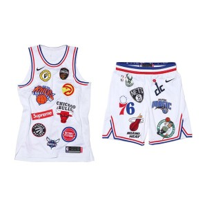 Supreme x Nike x NBA Satin Warm-Up basketball jersey shorts hip-hop suit white